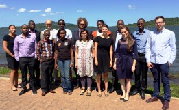 The group of East African lawyers and trainers who took part in the litigation surgery in Uganda.